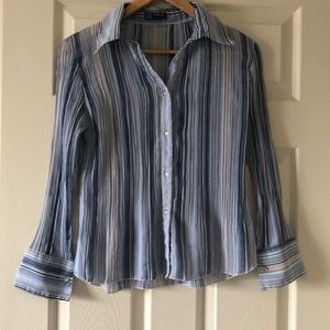 Tops - Striped blue button up blouse